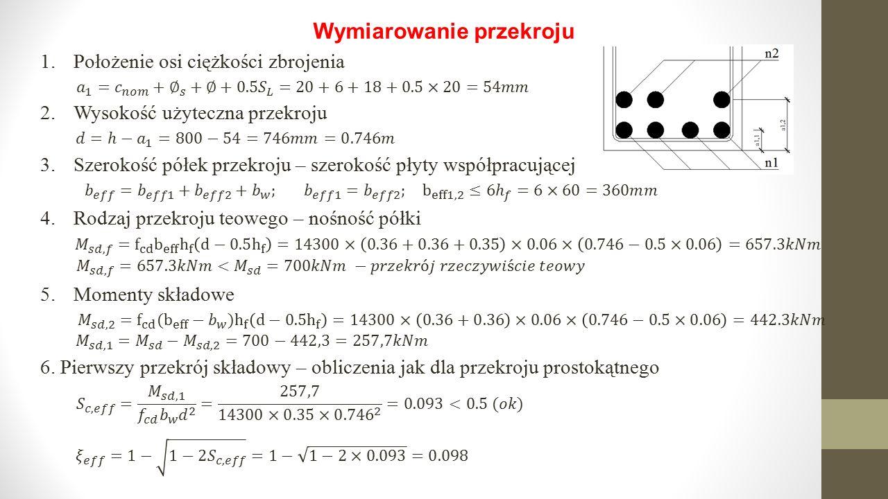 Wymiarowanie przekroju 1.Położenie osi ciężkości zbrojenia 2.Wysokość użyteczna przekroju 3.Szerokość półek przekroju – szerokość płyty współpracującej 4.Rodzaj przekroju teowego – nośność półki 5.Momenty składowe 6.
