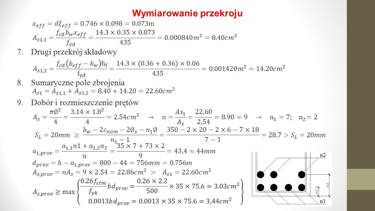Sprawdzenie warunku nośności 1.Położenie osi obojętnej przekroju 2.Graniczne położenie osi obojętnej przekroju 3.Nośność przekroju 3.Wytężenie przekroju Przekrój został zaprojektowany poprawnie, aczkolwiek z małym zapasem nośności
