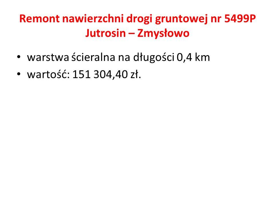 Remont nawierzchni drogi gruntowej nr 5499P Jutrosin – Zmysłowo warstwa ścieralna na długości 0,4 km wartość: 151 304,40 zł.