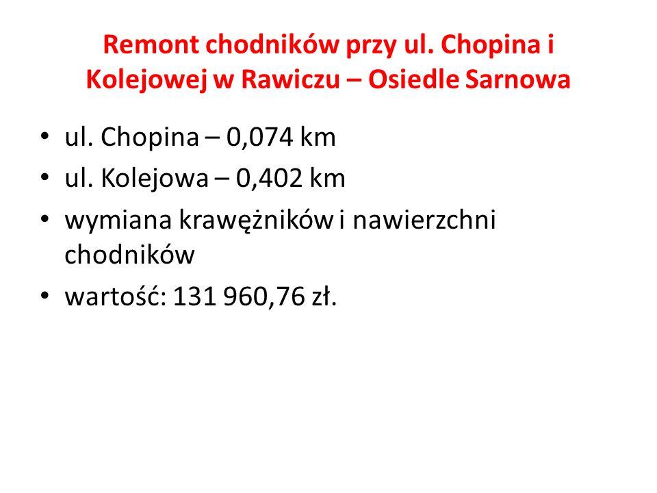 Remont chodników przy ul. Chopina i Kolejowej w Rawiczu – Osiedle Sarnowa ul. Chopina – 0,074 km ul. Kolejowa – 0,402 km wymiana krawężników i nawierz