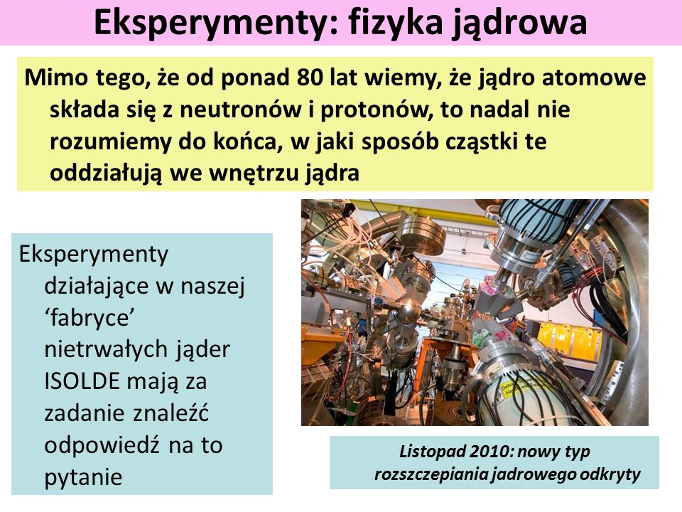Mimo tego, że od ponad 80 lat wiemy, że jądro atomowe składa się z neutronów i protonów, to nadal nie rozumiemy do końca, w jaki sposób cząstki te oddziałują we wnętrzu jądra Eksperymenty: fizyka jądrowa Eksperymenty działające w naszej 'fabryce' nietrwałych jąder ISOLDE mają za zadanie znaleźć odpowiedź na to pytanie Listopad 2010: nowy typ rozszczepiania jadrowego odkryty