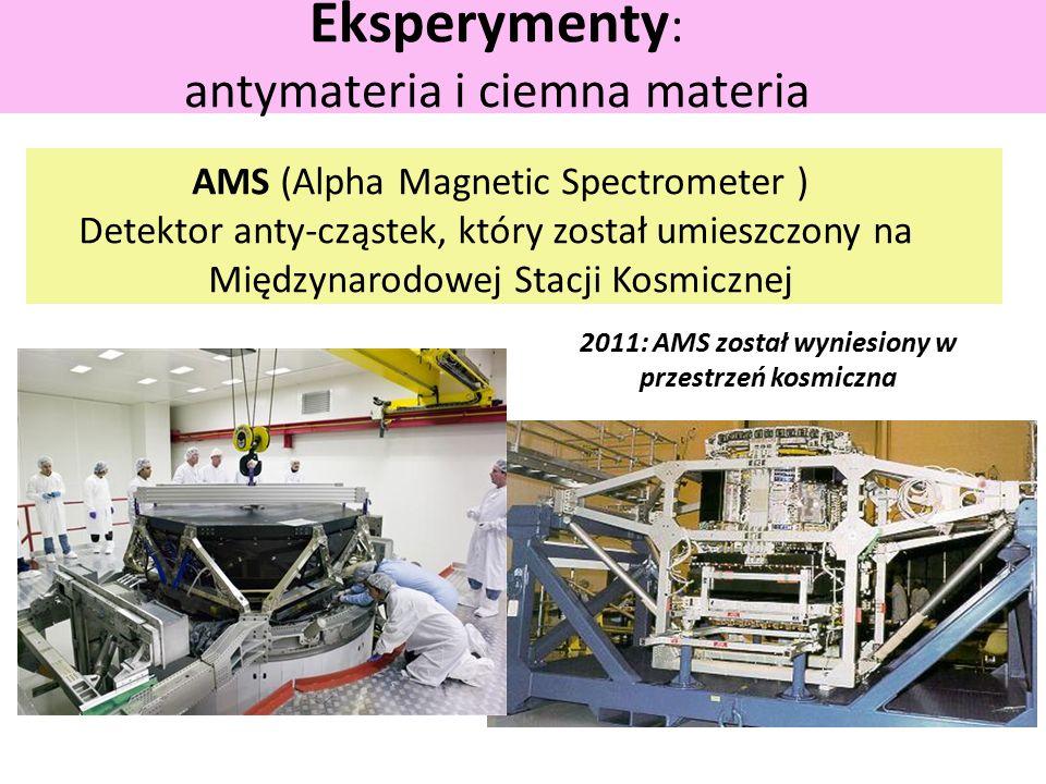 Eksperymenty : antymateria i ciemna materia AMS (Alpha Magnetic Spectrometer ) Detektor anty-cząstek, który został umieszczony na Międzynarodowej Stacji Kosmicznej 2011: AMS został wyniesiony w przestrzeń kosmiczna