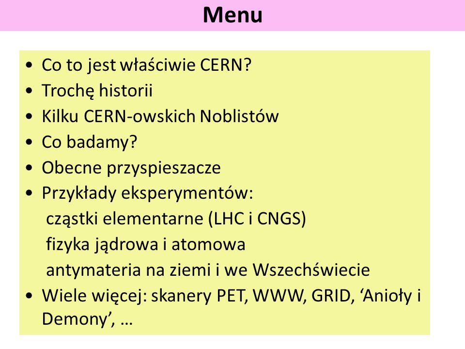 Co to jest właściwie CERN. Trochę historii Kilku CERN-owskich Noblistów Co badamy.
