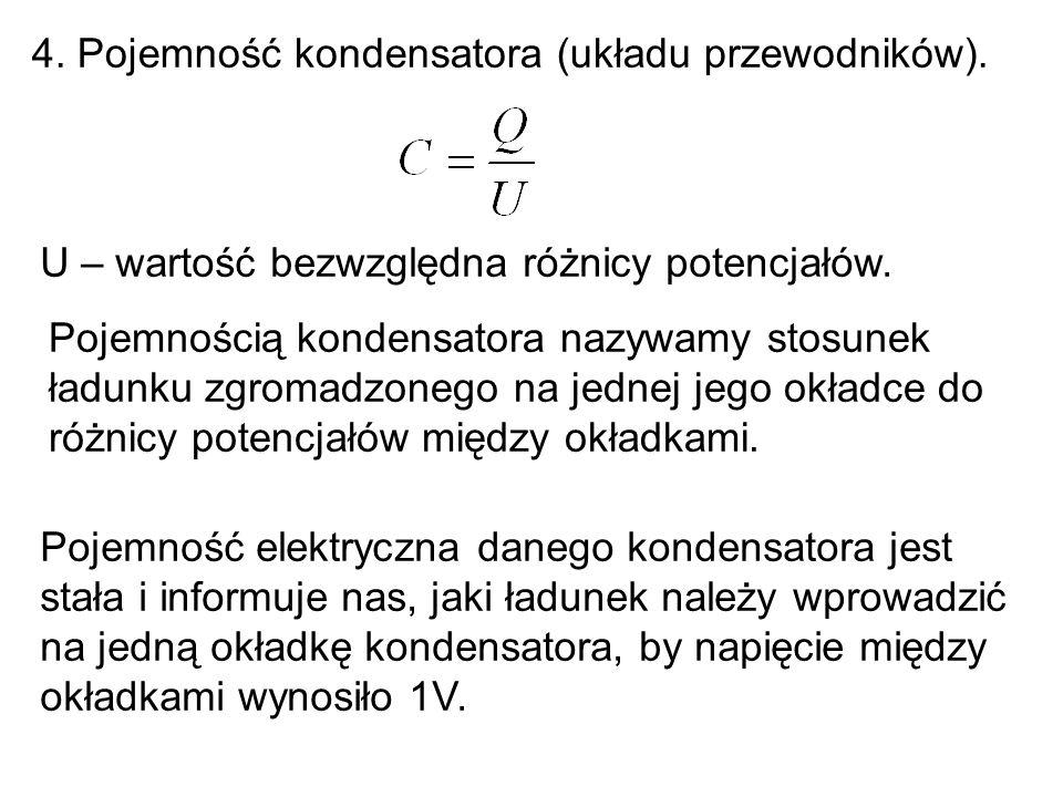 4.Pojemność kondensatora (układu przewodników).