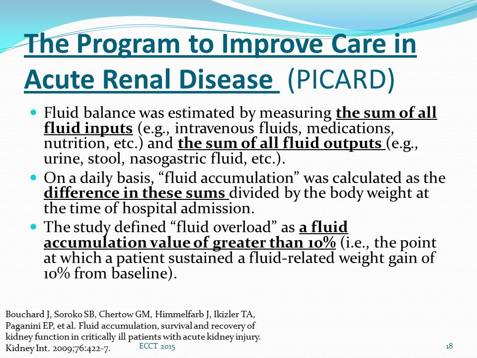 The Program to Improve Care in Acute Renal Disease (PICARD) Fluid balance was estimated by measuring the sum of all fluid inputs (e.g., intravenous fl