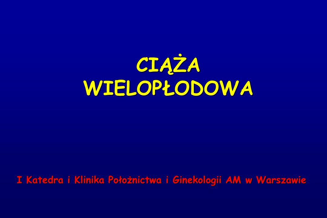 CIĄŻA WIELOPŁODOWA I Katedra i Klinika Położnictwa i Ginekologii AM w Warszawie I Katedra i Klinika Położnictwa i Ginekologii AM w Warszawie