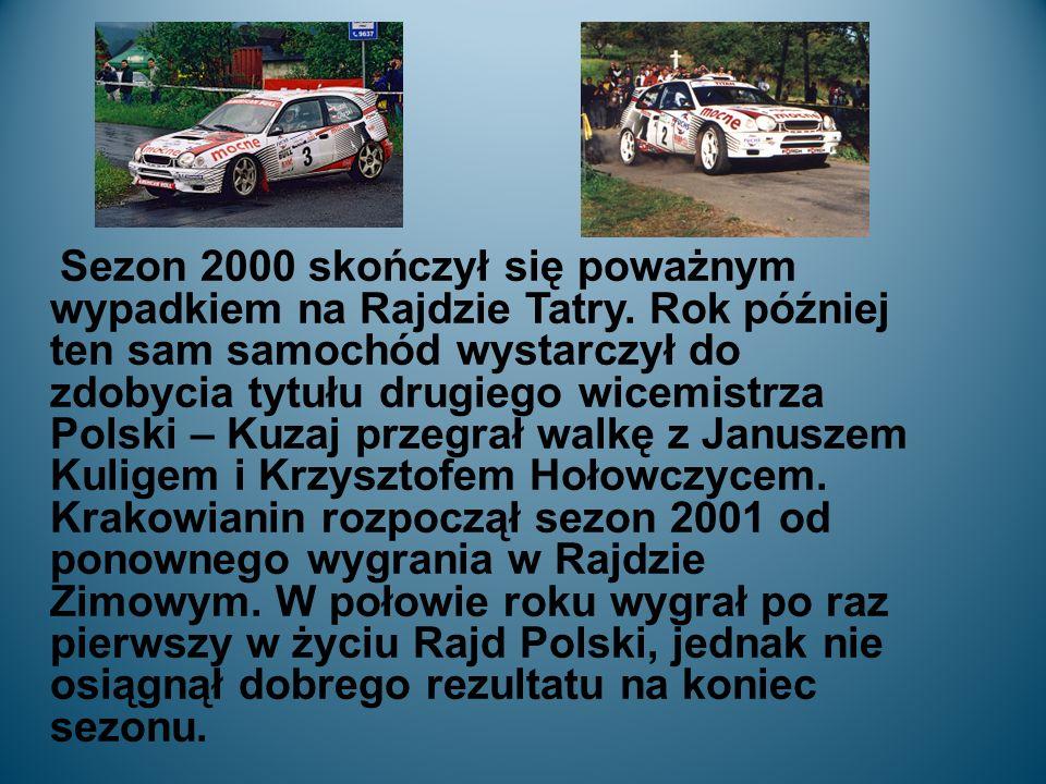 Sezon 2000 skończył się poważnym wypadkiem na Rajdzie Tatry.