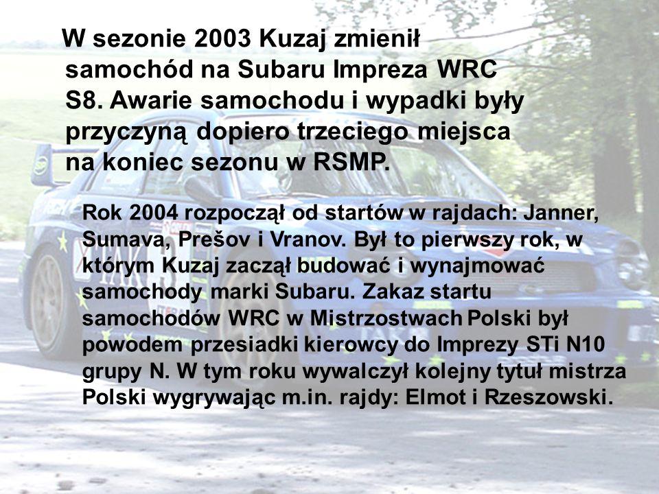 W sezonie 2003 Kuzaj zmienił samochód na Subaru Impreza WRC S8.