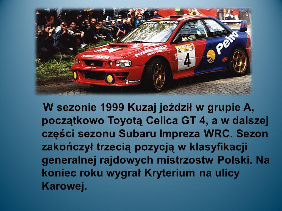 W sezonie 1999 Kuzaj jeździł w grupie A, początkowo Toyotą Celica GT 4, a w dalszej części sezonu Subaru Impreza WRC.