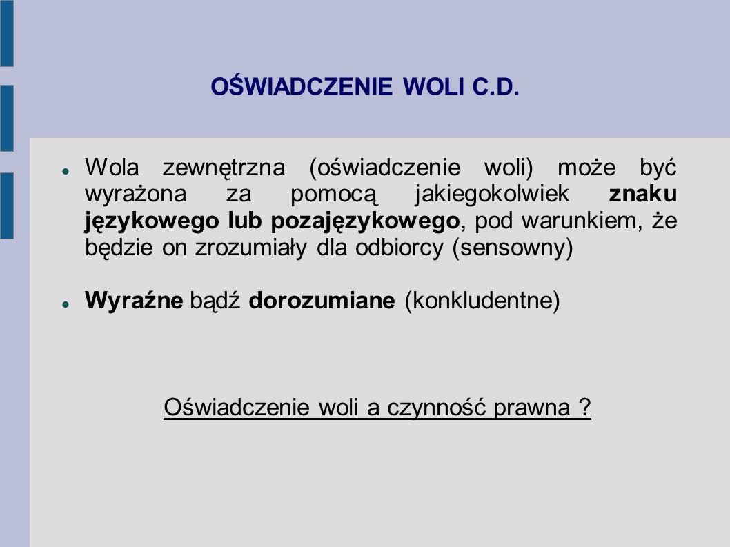 OŚWIADCZENIE WOLI C.D. Wola zewnętrzna (oświadczenie woli) może być wyrażona za pomocą jakiegokolwiek znaku językowego lub pozajęzykowego, pod warunki