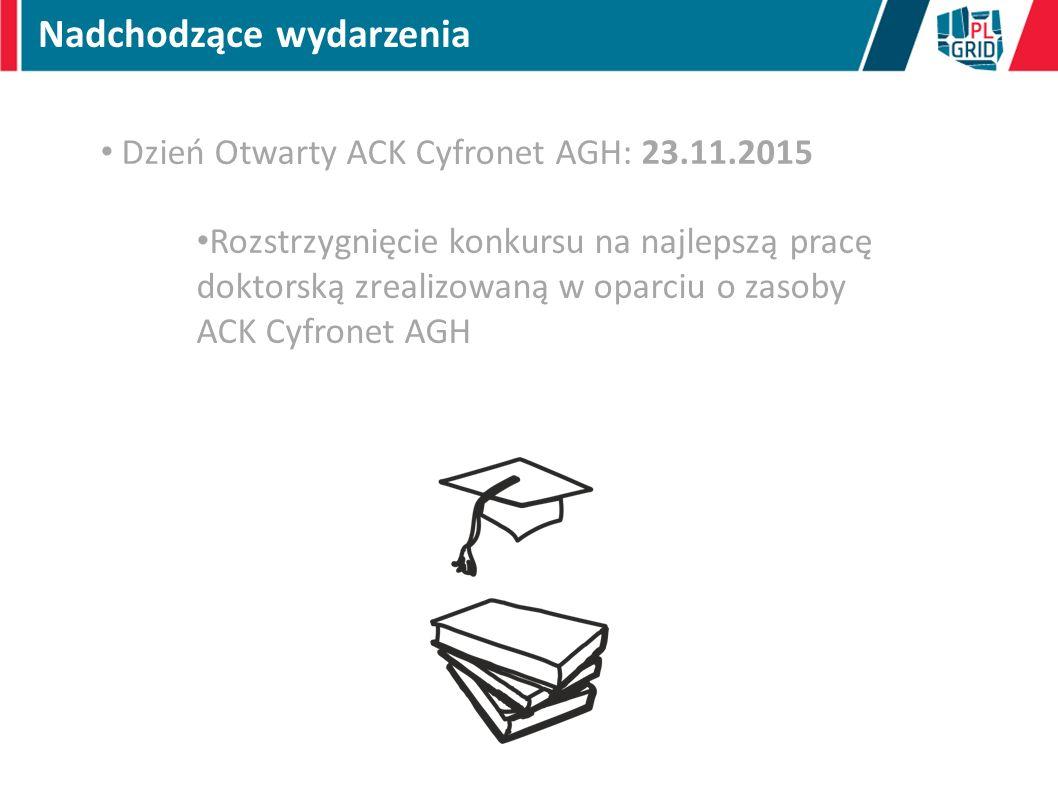 Nadchodzące wydarzenia Dzień Otwarty ACK Cyfronet AGH: 23.11.2015 Rozstrzygnięcie konkursu na najlepszą pracę doktorską zrealizowaną w oparciu o zasob