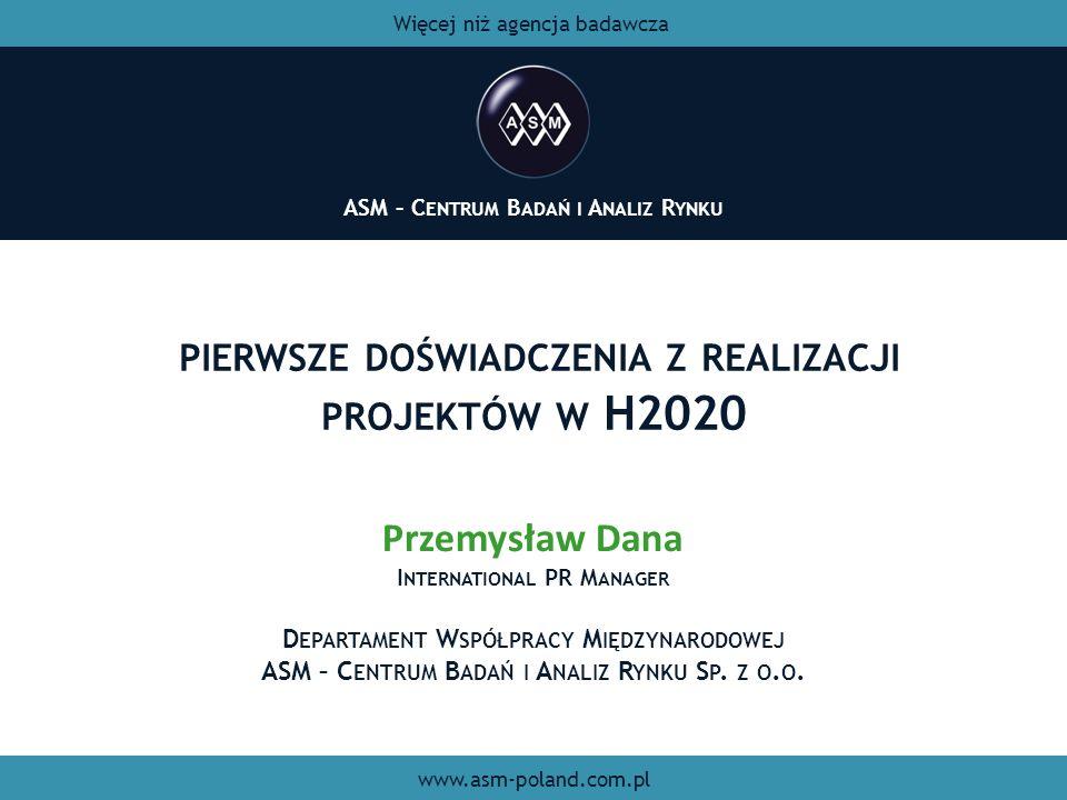 PIERWSZE DOŚWIADCZENIA Z REALIZACJI PROJEKTÓW W H2020 ASM – C ENTRUM B ADAŃ I A NALIZ R YNKU Więcej niż agencja badawcza www.asm-poland.com.pl Przemys