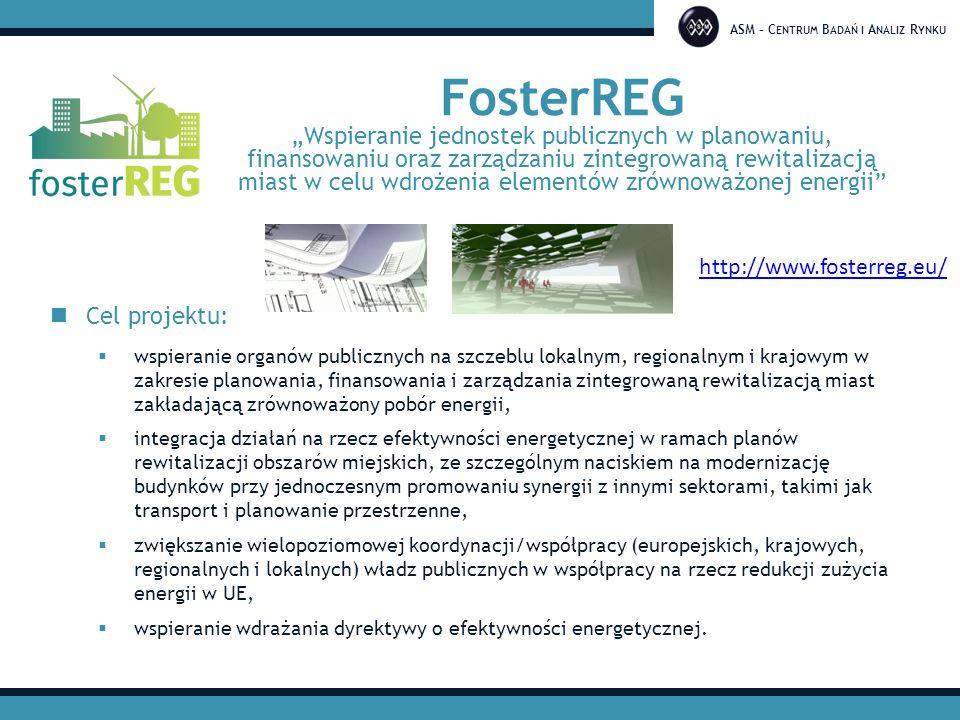"""ASM – C ENTRUM B ADAŃ I A NALIZ R YNKU FosterREG """"Wspieranie jednostek publicznych w planowaniu, finansowaniu oraz zarządzaniu zintegrowaną rewitalizacją miast w celu wdrożenia elementów zrównoważonej energii Konsorcjum: 10 partnerów, 4 kraje UE 4 research + 6 public"""