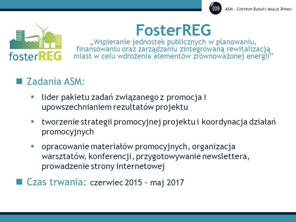 """ASM – C ENTRUM B ADAŃ I A NALIZ R YNKU FosterREG """"Wspieranie jednostek publicznych w planowaniu, finansowaniu oraz zarządzaniu zintegrowaną rewitaliza"""