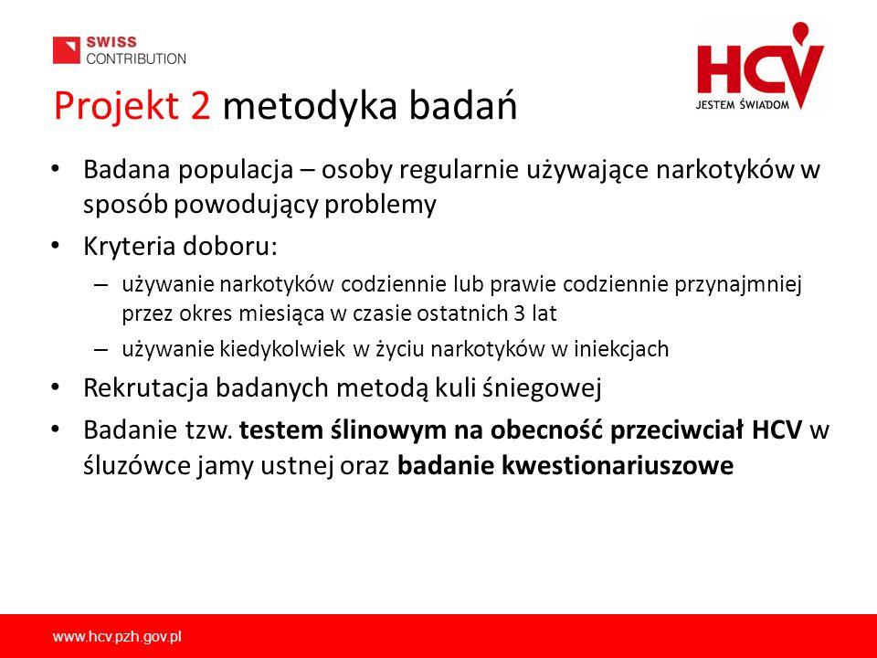 www.hcv.pzh.gov.pl Projekt 2 metodyka badań Badana populacja – osoby regularnie używające narkotyków w sposób powodujący problemy Kryteria doboru: – u