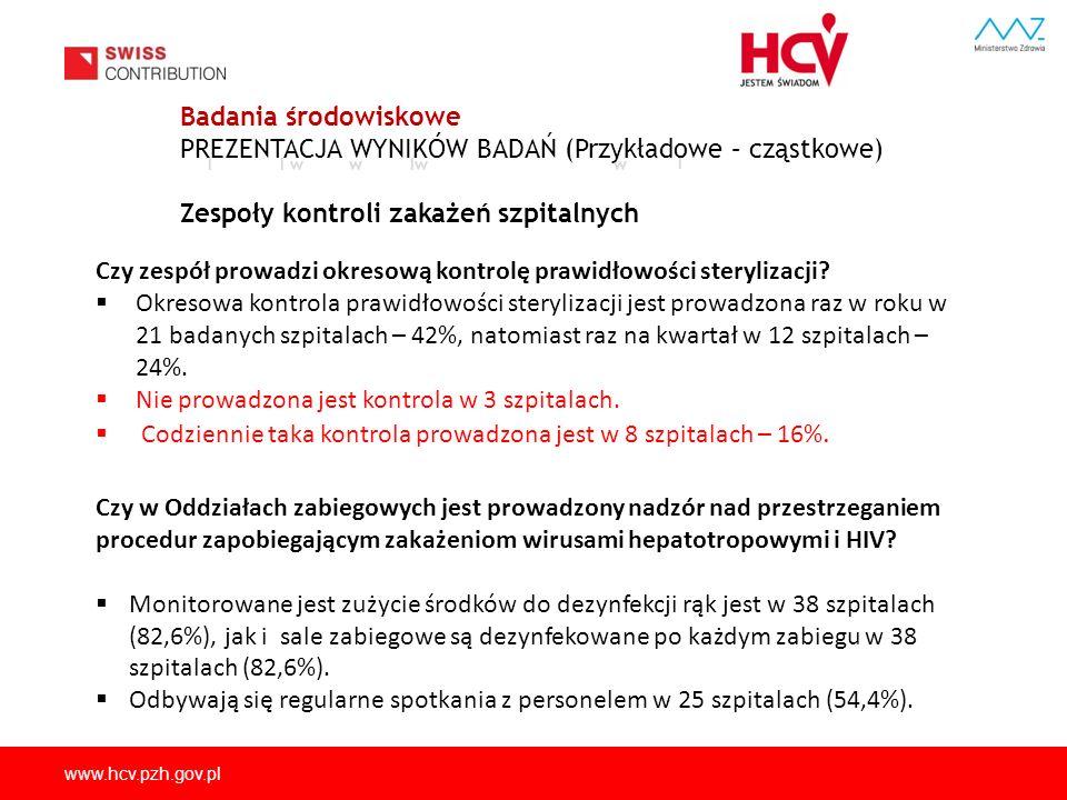www.hcv.pzh.gov.pl II w w w I Badania środowiskowe PREZENTACJA WYNIKÓW BADAŃ (Przykładowe – cząstkowe) Zespoły kontroli zakażeń szpitalnych Czy zespół