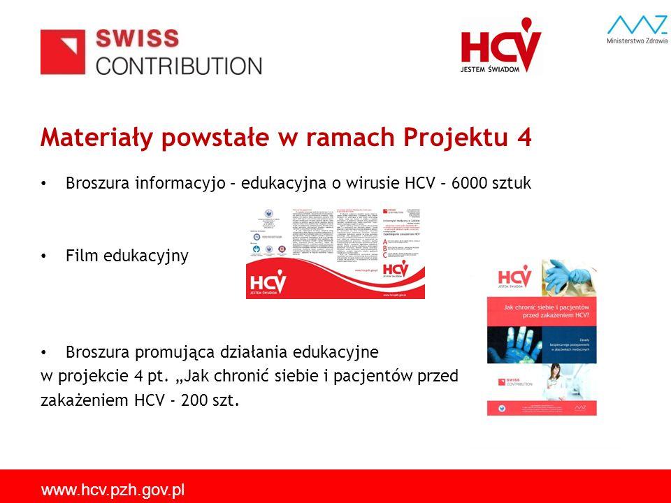 Materiały powstałe w ramach Projektu 4 Broszura informacyjo – edukacyjna o wirusie HCV – 6000 sztuk Film edukacyjny Broszura promująca działania eduka