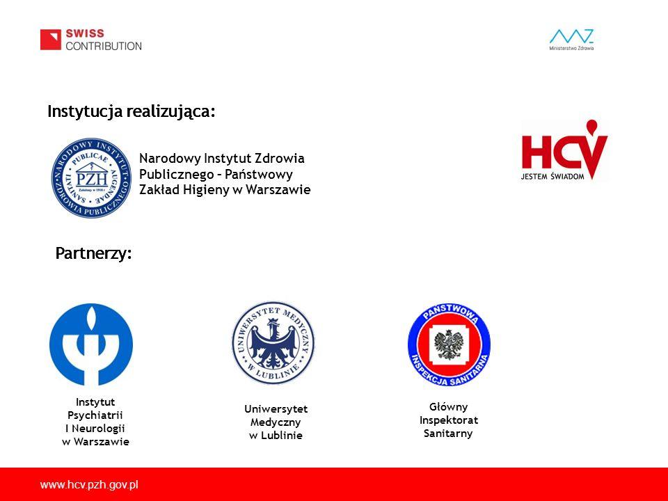 www.hcv.pzh.gov.pl Instytucja realizująca: Narodowy Instytut Zdrowia Publicznego – Państwowy Zakład Higieny w Warszawie Partnerzy: Instytut Psychiatri