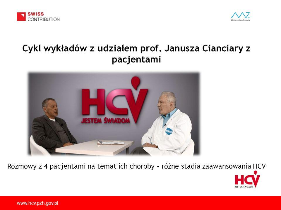 www.hcv.pzh.gov.pl Cykl wykładów z udziałem prof. Janusza Cianciary z pacjentami Rozmowy z 4 pacjentami na temat ich choroby – różne stadia zaawansowa