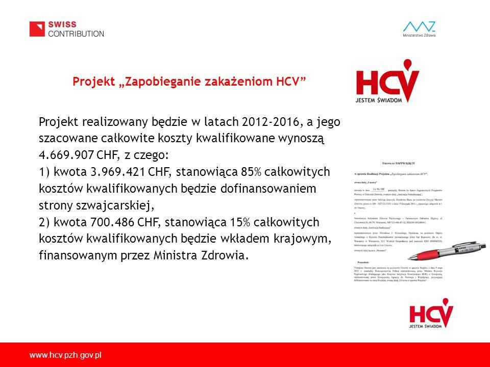 """www.hcv.pzh.gov.pl Projekt 1 """"Usprawnienie diagnostyki HCV, oszacowanie występowania HCV w populacji ogólnej oraz analiza czynników związanych z występowaniem HCV Projekt 2 """"Zmniejszenie ryzyka zakażenia HCV w populacji iniekcyjnych użytkowników narkotyków (IDU) Projekt 3 """"Pilotażowy Program badania kobiet w ciąży w kierunku zakażeń HCV Projekt 4 """"Jakościowa ocena ryzyka zakażenia HCV w świetle stosowanych procedur medycznych w wybranych zakładach opieki zdrowotnej Projekt 5 """"Edukacja pracowników wybranych zawodów zwiększonego ryzyka transmisji zakażeń krwiopochodnych i ogółu społeczeństwa w zakresie prewencji (HCV, HBV, HIV) Projekt """"Zapobieganie zakażeniom HCV obejmuje swoim zakresem:"""