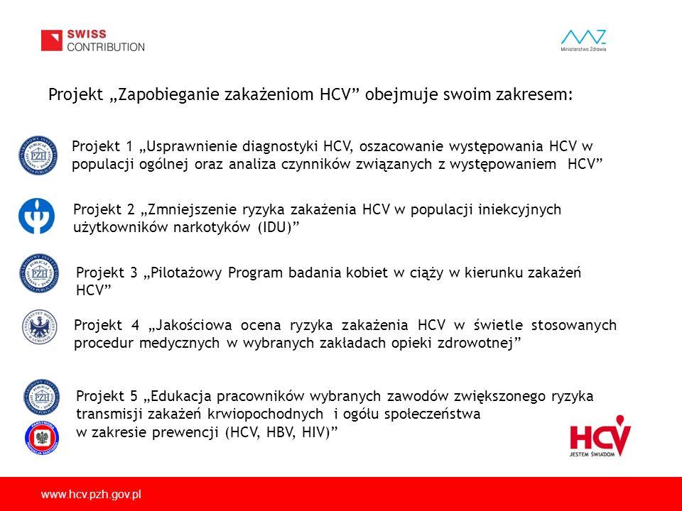 www.hcv.pzh.gov.pl Celem głównym projektu jest stworzenie podstaw do zaplanowania długofalowej strategii przeciwdziałania zakażeniom HCV i zwalczania wzw C w Polsce poprzez: 1)określenie sytuacji epidemiologicznej, w tym w grupie kobiet w ciąży 2)przygotowanie założeń rutynowych badań diagnostycznych, zwłaszcza wśród użytkowników substancji psychoaktywnych, 3)ocenę ryzyka zakażeń w placówkach medycznych i w sektorze usług o zwiększonym ryzyku transmisji zakażeń krwiopochodnych, 4)opracowanie i przeprowadzenie programu edukacyjnego w zakresie społecznego uświadomienia problemu zakażeń HCV i zasad zapobiegania tym zakażeniom 5)przeprowadzenie kampanii społecznej ukierunkowanej na propagowanie różnych typów działań/zachowań w celu prewencji zakażeń wirusem HCV oraz pokazanie możliwości dokonania świadomego wyboru przez każdego z nas.