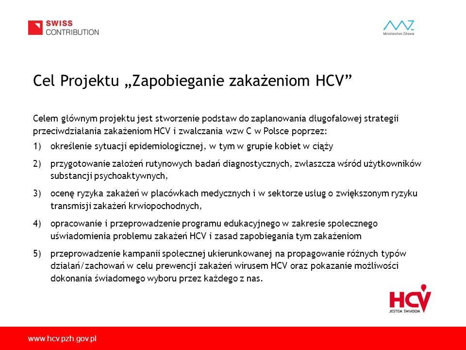 www.hcv.pzh.gov.pl Celem głównym projektu jest stworzenie podstaw do zaplanowania długofalowej strategii przeciwdziałania zakażeniom HCV i zwalczania