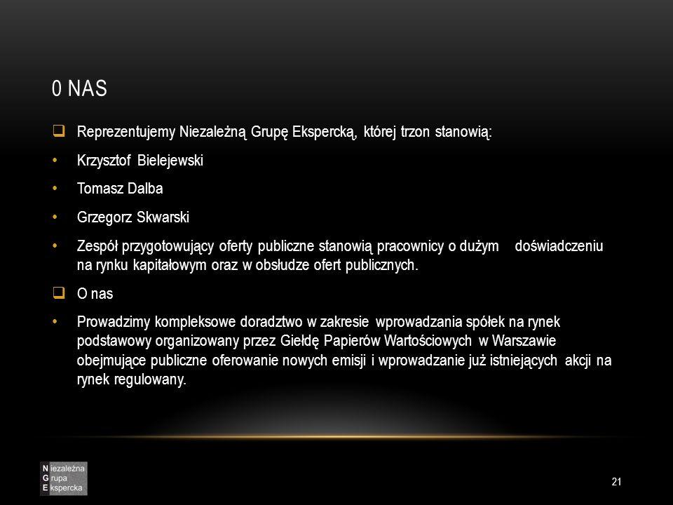 0 NAS  Reprezentujemy Niezależną Grupę Ekspercką, której trzon stanowią: Krzysztof Bielejewski Tomasz Dalba Grzegorz Skwarski Zespół przygotowujący oferty publiczne stanowią pracownicy o dużym doświadczeniu na rynku kapitałowym oraz w obsłudze ofert publicznych.