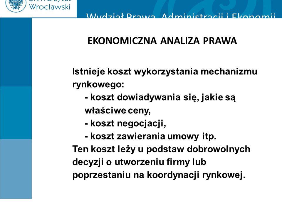 Wydział Prawa, Administracji i Ekonomii EKONOMICZNA ANALIZA PRAWA Istnieje koszt wykorzystania mechanizmu rynkowego: - koszt dowiadywania się, jakie s
