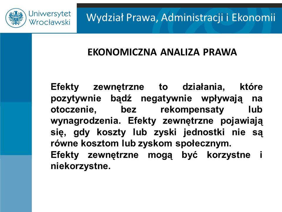 Wydział Prawa, Administracji i Ekonomii EKONOMICZNA ANALIZA PRAWA Efekty zewnętrzne to działania, które pozytywnie bądź negatywnie wpływają na otoczen