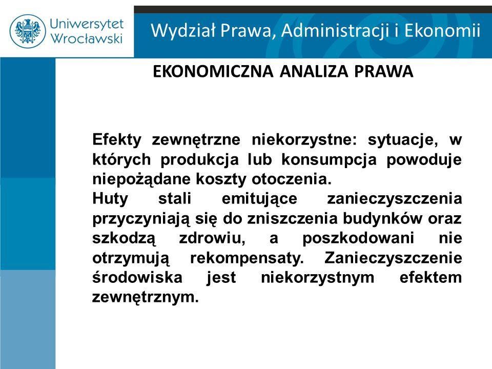 Wydział Prawa, Administracji i Ekonomii EKONOMICZNA ANALIZA PRAWA Efekty zewnętrzne niekorzystne: sytuacje, w których produkcja lub konsumpcja powoduj