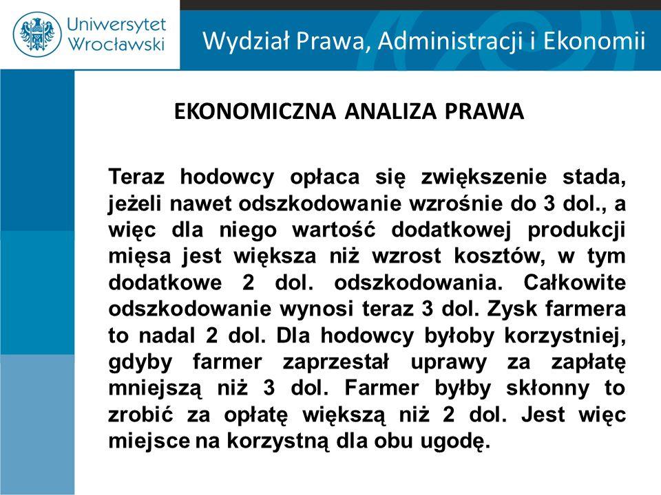 Wydział Prawa, Administracji i Ekonomii EKONOMICZNA ANALIZA PRAWA Teraz hodowcy opłaca się zwiększenie stada, jeżeli nawet odszkodowanie wzrośnie do 3