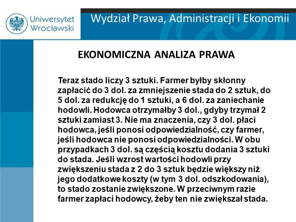 Wydział Prawa, Administracji i Ekonomii EKONOMICZNA ANALIZA PRAWA Teraz stado liczy 3 sztuki. Farmer byłby skłonny zapłacić do 3 dol. za zmniejszenie
