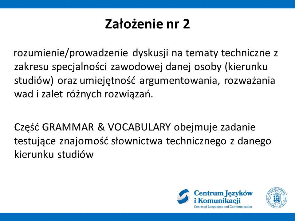 """Założenie nr 3 gramatyka i słownictwo jest również pośrednio testowana w modułach: reading/listening/writing/speaking, moduł """"Grammar and Vocabulary stanowi sklamrowanie całości, z konieczności traktuje gramatykę wybiórczo"""