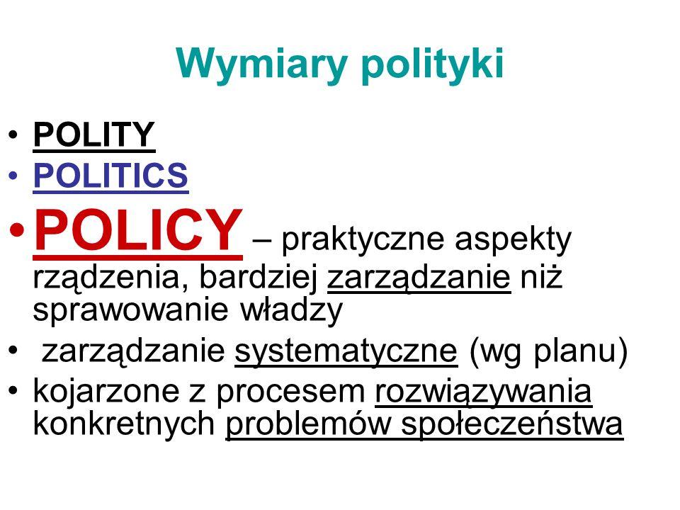 Wymiary polityki POLITY POLITICS POLICY – praktyczne aspekty rządzenia, bardziej zarządzanie niż sprawowanie władzy zarządzanie systematyczne (wg plan