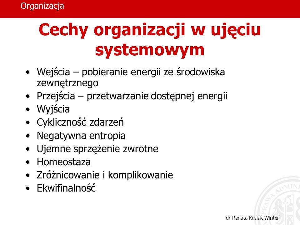 Organizacja dr Renata Kusiak-Winter Cechy organizacji w ujęciu systemowym Wejścia – pobieranie energii ze środowiska zewnętrznego Przejścia – przetwar