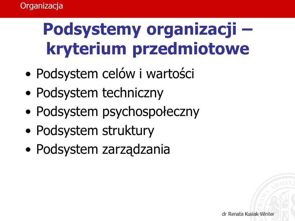 Organizacja dr Renata Kusiak-Winter Podsystemy organizacji – kryterium przedmiotowe Podsystem celów i wartości Podsystem techniczny Podsystem psychosp