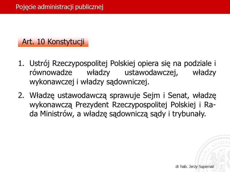 2 Pojęcie administracji publicznej dr hab. Jerzy Supernat Art. 10 Konstytucji 1.Ustrój Rzeczypospolitej Polskiej opiera się na podziale i równowadze w