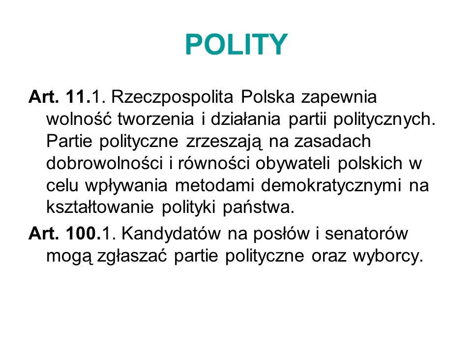 POLITY Art. 11.1. Rzeczpospolita Polska zapewnia wolność tworzenia i działania partii politycznych. Partie polityczne zrzeszają na zasadach dobrowolno