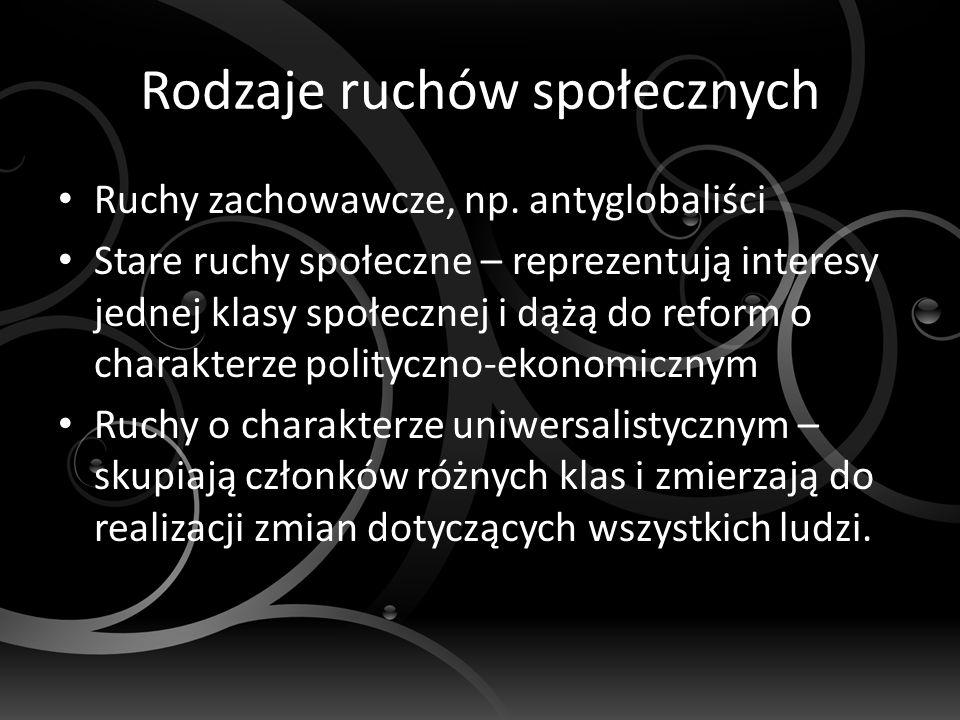 Rodzaje ruchów społecznych Ruchy zachowawcze, np.