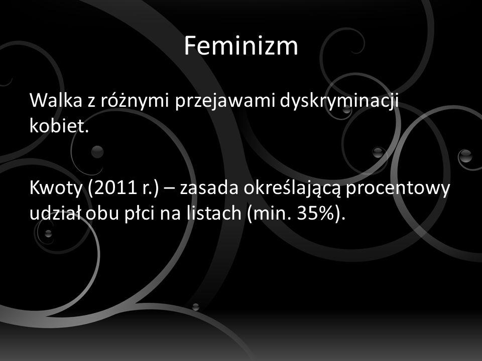 Feminizm Walka z różnymi przejawami dyskryminacji kobiet.
