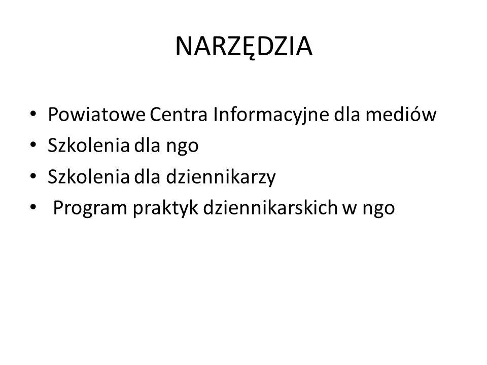NARZĘDZIA Powiatowe Centra Informacyjne dla mediów Szkolenia dla ngo Szkolenia dla dziennikarzy Program praktyk dziennikarskich w ngo