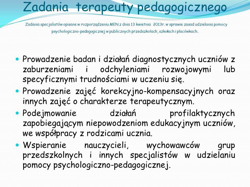 Zadania terapeuty pedagogicznego Zadania specjalistów opisane w rozporządzeniu MEN z dnia 13 kwietnia 2013r. w sprawie zasad udzielania pomocy psychol