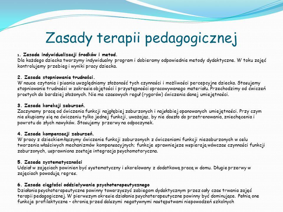 Zasady terapii pedagogicznej 1. Zasada indywidualizacji środków i metod. Dla każdego dziecka tworzymy indywidualny program i dobieramy odpowiednie met