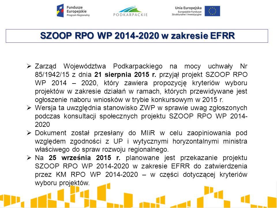 SZOOP RPO WP 2014-2020 w zakresie EFRR  Zarząd Województwa Podkarpackiego na mocy uchwały Nr 85/1942/15 z dnia 21 sierpnia 2015 r. przyjął projekt SZ