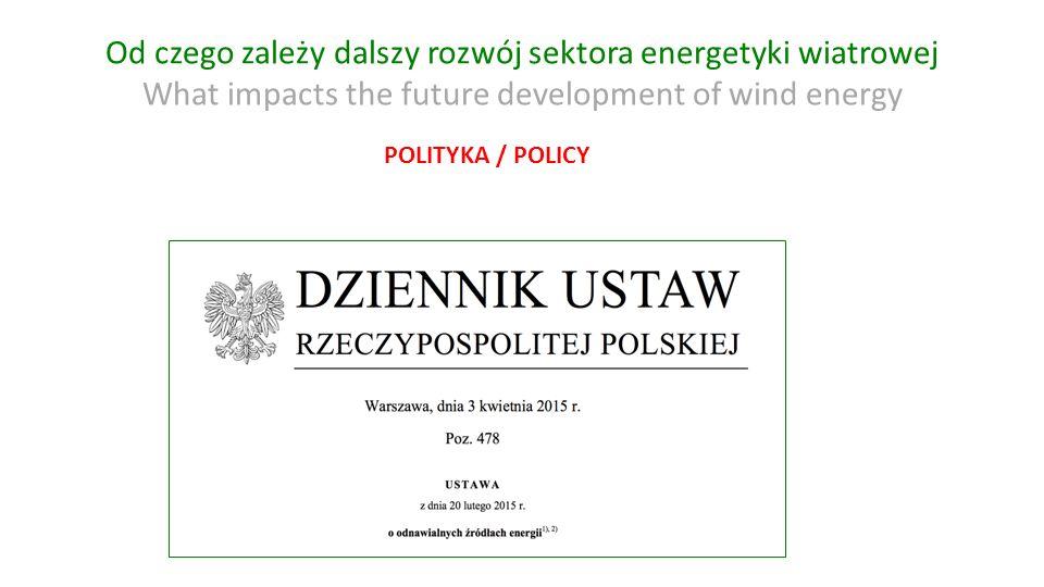 Od czego zależy dalszy rozwój sektora energetyki wiatrowej What impacts the future development of wind energy POLITYKA / POLICY