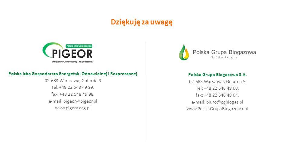 Polska Grupa Biogazowa S.A. 02-683 Warszawa, Gotarda 9 Tel: +48 22 548 49 00, fax: +48 22 548 49 04, e-mail: biuro@pgbiogaz.pl www.PolskaGrupaBiogazow