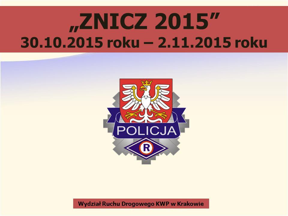 """""""ZNICZ 2015 30.10.2015 roku – 2.11.2015 roku Wydział Ruchu Drogowego KWP w Krakowie"""