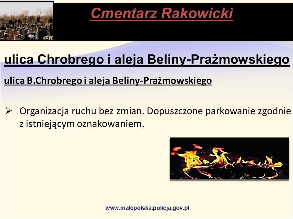 Cmentarz Rakowicki stąpią ulica Chrobrego i aleja Beliny-Prażmowskiego ulica B.Chrobrego i aleja Beliny-Prażmowskiego  Organizacja ruchu bez zmian.