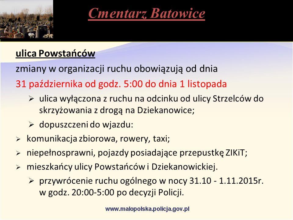 Cmentarz Batowice ulica Powstańców zmiany w organizacji ruchu obowiązują od dnia 31 października od godz.
