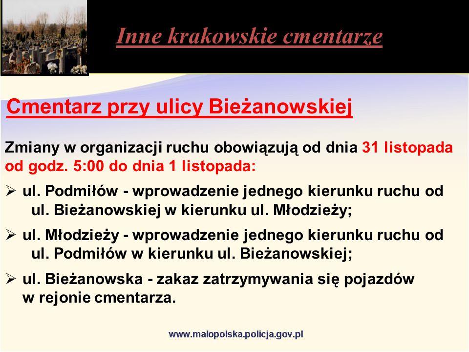 Inne krakowskie cmentarze Cmentarz przy ulicy Bieżanowskiej Zmiany w organizacji ruchu obowiązują od dnia 31 listopada od godz.